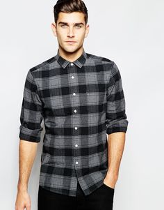 Image 1 ofASOS Check Shirt In Heavyweight Wool With Long Sleeves