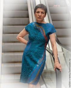 Купить Платье валяное - синий, абстрактный, Платье нарядное, валяное платье, шерстяное, меринос, коктейльное