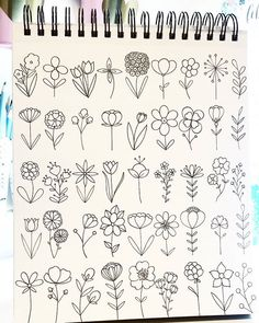 Drawing doodle drawings, doodle art, easy drawings, doodles of flowers, c. Bullet Journal Aesthetic, Bullet Journal Ideas Pages, Bullet Journal Inspiration, Bullet Journal Notebook, Flower Doodles, Doodle Flowers, Drawing Flowers, Easy Drawings Of Flowers, Easy To Draw Flowers