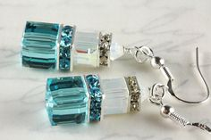 Turquoise and White Opal Crystal Earrings by #NancysCrystalFantasi, $33.00 #jetteam #jewelryonetsy