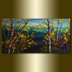 Original Birch Forest Landscape Tree Painting by willsonart. , via Etsy.