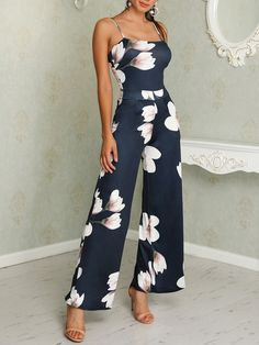 Floral Spaghetti Strap Wide Leg Jumpsuit - Fashion Able Floral Jumpsuit, Printed Jumpsuit, Jumpsuit Dress, Trendy Outfits, Cute Outfits, Fashion Outfits, Trend Fashion, Womens Fashion, Fashion Rings