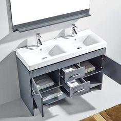 Best Photo Gallery For Website Apply your modern aesthetic to a bathroom remodel with this double sink vanity finished in a contemporary gray which plements many wall and floor