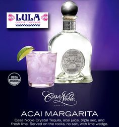 The Açai Margarita made with Casa Noble tequila is the feaure cocktail of the Month of May at Lula Cocina Mexicana