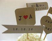 Custom Woodland Name Date Wedding Favor Flag Pennant Straw Stirrer Topper. $27.50, via Etsy.