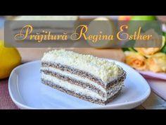PRAJITURA REGINA ESTHER (cu mac și cremă de lămâie) || DULCINELE ❤ - YouTube Romanian Desserts, Queen Esther, Kiwi, Macarons, Vanilla Cake, Cookie Recipes, Caramel, Sweets, Cookies