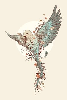 bird-plant-time-clock-illustration-animal-art-design « « Mayhem & Muse