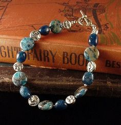 Moon and Stars Bracelet wth Apatite and Larimar by dishfunctionldesigns