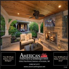 Covered Patio With Fireplace Design Ideas, Pictures, Remodel and Decor Outdoor Fireplace Patio, Outdoor Kitchen Patio, Outdoor Fireplace Designs, Backyard Fireplace, Outside Patio, Outdoor Kitchen Design, Outdoor Fireplaces, Porch With Fireplace, Backyard Pavilion