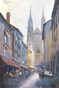 Clermont-Ferrand, France XI Watercolor on Paper 21 1/2 x 14 1/4 inches (54.5 x 36 cm)