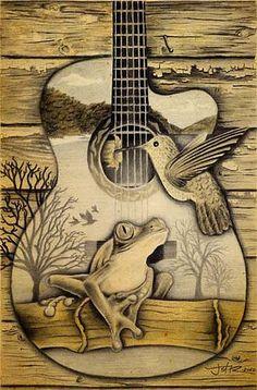 Guitar: Porch Song Pencil Art - Jeffrey St. Romain Art Gallery
