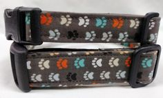 Gray with Paw Prints  dog collar by HalasPaws on Etsy