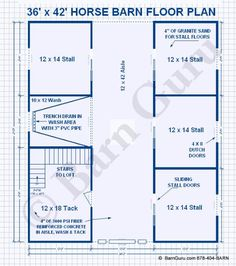 Barn Plans - Four Stall Horse Barn With Tack and Feed. Horse Barn Plans for sale. Large selection of Horse Barn Plans For Sale. The Plan, How To Plan, Horse Stables, Horse Farms, Horse Barn Designs, Barn Layout, Barn Stalls, Horse Barn Plans, Indoor Arena