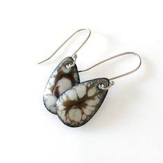"These 1"" x 5/8"" enameled earrings are light, artistic and one of a kind."
