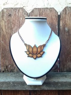 Nelumbo Nucifera - laser cut and etched cherry wood necklace by Earth Drop Designs