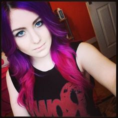 Purple to pink hair..I wouldn't do this, but I actually kinda like it