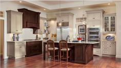 Painted Maple cabinets with a Cherry kitchen island by Decora Cabinetry Maple Cabinets, Cherry Kitchen Island, Kitchen Design, Cabinets And Countertops, Decora Cabinets, Cabinet, Kitchen And Bath Design, Kitchen, Kitchen Island