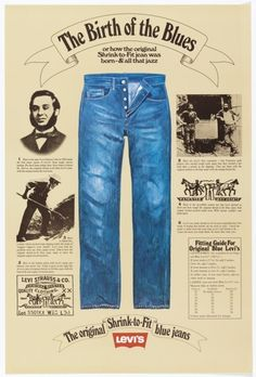 "Poster: ""The Birth of the Blues"" for Levi Strauss, ca. 1975–80. Gift of Various Donors. 1981-29-253."