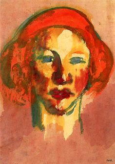 """"""" Head of a Woman, Red Hair  - Emil Nolde  (7 de agosto de 1867, Ducado de Schleswig - 13 de abril de 1956, Neukirchen, Alemania)   Períodos: Expresionismo Alemán, Arte moderno. Emil Nolde fue uno de los más destacados pintores expresionistas alemanes. Su verdadero nombre era Hans Emil Hansen. Estuvo muy influido por Vincent van Gogh, Edvard Munch, y James Ensor"""