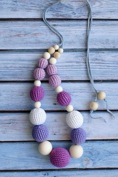 Violet crochet teething necklace for mummy  Organic purple wooden nursing necklace Breastfeeding jewelry for new mom Eco friendly teether