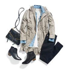 Rainy Day Outfit.  I like the cargo jacket