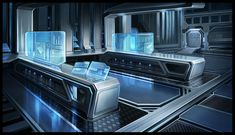 Laboratory by Sebastian Wagner on ArtStation. Spaceship Interior, Futuristic Interior, Futuristic City, Futuristic Technology, Futuristic Architecture, Episode Backgrounds, Sci Fi Environment, Science Fiction Art, Fantasy Landscape