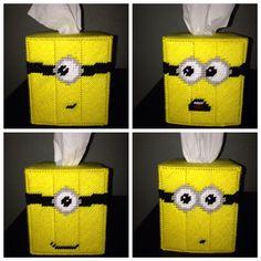 Minions plastic canvas tissue box from Despicable Me.
