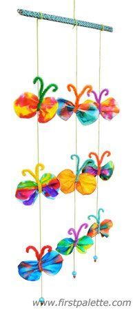 Butterfly Mobile craft String together some colorful coffee filter butterflies to create a lovely butterfly mobile. Butterfly Kids, Butterfly Mobile, Butterfly Crafts, Fun Crafts For Kids, Summer Crafts, Toddler Crafts, Coffee Filter Art, Coffee Filter Crafts, Coffee Filters