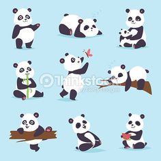 Panda cartoon character in various expression. Animal white cute china black panda bear giant mammal fat wilderness r. Bear Character, Character Poses, Character Design, Fat Panda, Niedlicher Panda, Panda Illustration, Cute Panda Cartoon, Bear Cartoon, Panda Lindo