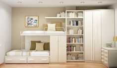 Bunk Bed In White Kids Room Decoration Wallpaper listed in: