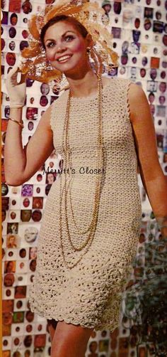 Sleeveless Dress 1970s, Vintage Crochet Pattern, INSTANT DOWNLOAD PDF