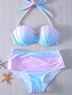 Halter Neck Tie Dye Pearl Embellished Bikini Set For Women - BLUE AND PINK M Mobile