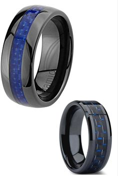 Mens wedding bands! All black wedding bands with blue and black carbon fiber inlay. Love them!