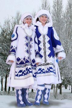 (Tungus people) Tungusic people of northern Asia in their Evenki costumes.