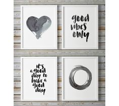 Printable Wall Art Good Vibes Only Enso Print Abstract Set Of 4 Wall Art Prints, Large Wall Art Watercolor Print Painting Heart Good Day by WhitePrintDesign on Etsy