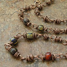 I love the color combination of the beads with the antiqued copper wire.