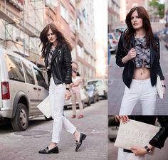Zara Jacket, Zara Pants, Zara Loafers, Modparade Tee, Modparage Necklace, Zara Clutch