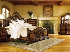 An elegant Tuscan style bedroom.