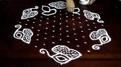 Simple Flowers kolam designs with 13-7 middle | chukkala muggulu with do...