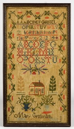 Mary Grosman...a school girl sampler...like how the vibrant colour is still evident...