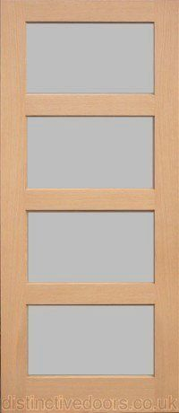 'Wordsworth' 4 Light Clear Glass Oak Interior Door. Also available with satin glazing.