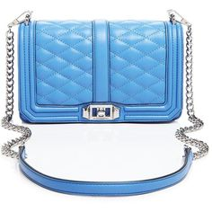 Rebecca Minkoff Quilted Love Crossbody ($250) ❤ liked on Polyvore featuring bags, handbags, shoulder bags, blue crossbody handbag, rebecca minkoff purse, quilted purses, crossbody purse and blue shoulder bag