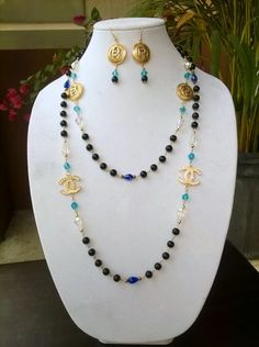 "Fantastic 56"" Designer Inspired Pearl & Crystal Necklace Set"