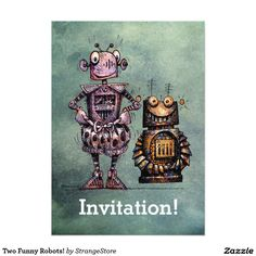 Two Funny Robots! 5x7 Paper Invitation Card