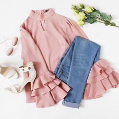 To find out about the Exaggerate Bell Sleeve Keyhole High Neck Top at SHEIN, part of our latest Blouses ready to shop online today! Girls Fashion Clothes, Teen Fashion Outfits, Girly Outfits, Cute Casual Outfits, Pretty Outfits, Stylish Outfits, Trendy Fashion, Girl Fashion, Fashion Dresses