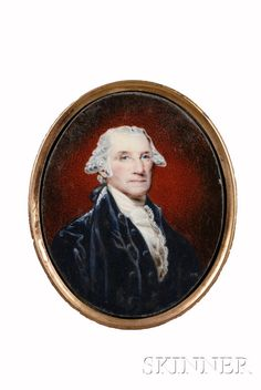 William Russell Birch (American) after Gilbert Stuart (American): Enamel Painting on Copper, Portrait Miniature of George Washington (after 1794) [$38,513 (2009)] (Note: one of 60 Birch produced)