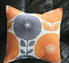Decorative pillows poppy poppies citrus orange gray grey silver design cushion shams UK designer fabric One 18 inch spring decor Orange Grey, Gray, Creature Comforts, Throw Cushions, Furniture Decor, Kids Bedroom, Fabric Design, Decorative Pillows, Poppies