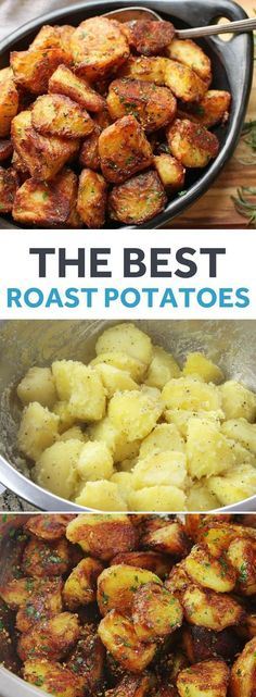 potato recipes These will be greatest roast potatoes youve ever tasted: incredibly crisp and crunchy on the outside, with centers that are creamy and packed with potato flavor. I double-dare you. Potato Dishes, Vegetable Dishes, Food Dishes, Veggie Food, Potato Snacks, Vegetarian Recipes, Cooking Recipes, Healthy Recipes, Healthy Food