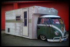 UUhhhmmmm , a VW transporter toy hauler? was gonna say motorhome but there's no windows.