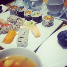 Sushi restaurant, miso soup and green tea! Sushi Restaurants, Miso Soup, Fresh Rolls, Rainbows, Glitters, Tea, Ethnic Recipes, Green, Food